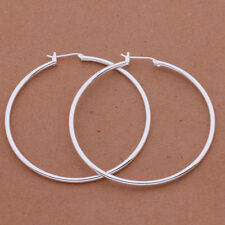 beautiful Fashion 925 sterling Silver Plated women 5CM circle Earring jewelry