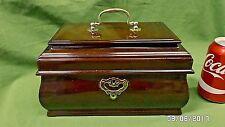 "1807M Vtg Mahogany Treasure Chest Jewel Box w/Removable Tray 10"" Wide GORGEOUS"