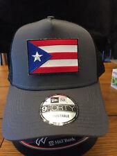 New Era NE205 Grey/Black Mesh Snapback Cap w/ Puerto Rico Rican Flag Patch