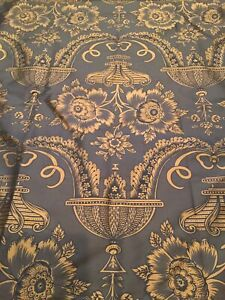 Brunschwig Fils Verel De Belval France Silk Print Fabric Brown 3.5 Yards
