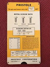 Vintage Prestole Metal Screw Data Clip Fastener Slide Chart Advertising