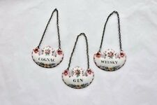 Antique Enamel Liquor Bottle Labels Cognac  Whisky  Gin