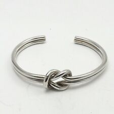 Sterling Silver Mexico Interlocking Love Knot Infinity Cuff Bracelet