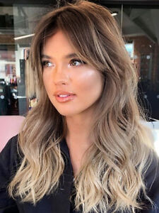 Brown Roots to Ash Blonde Hair Wigs with Bangs for Women Long Wavy Wig Store
