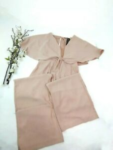 Zara Woman Cape Jumpsuit With Lace Nude Pink Size Large $89