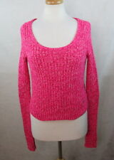 ABERCROMBIE FITCH WOMENS MEDIUM M CROPPED SWEATER OPEN KNIT LONG SLEEVES PINK