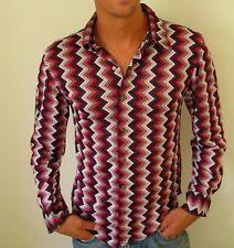 Vtg 90s Tod Oldman SMALL Mens Chevron Print Red White Blue Button Down Up Shirt