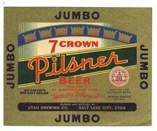 1/2 Gal. Jumbo 7 Crown beer bottle label, Irtp, Salt Lake City, Utah, 64 ounce