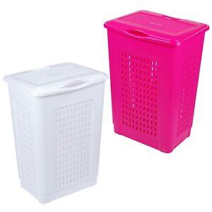 50 Litre Holed Laundry Basket Lid Washing Bin Hamper Storage Bathroom Capacity