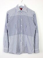 Hugo Boss Mens Long Sleeve Check Pattern White Blue Shirt Fitted Cotton Size S