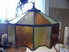 Vintage Stained and Slag, Green and Gold Hanging Light
