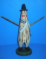 Primitive Hand Carved Genuine Wood Snowman Twig Arms 12.5 Inches High