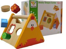 Children's Wooden Rooster Shape Sorter Colourful Toy Complete With Shapes New