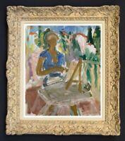 RAYA SAFIR (1909-2004) PEINTURE FAUVISTE BELLE SCENE ANIMEE 1950 (311)