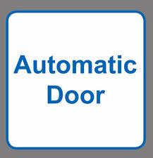 4 x AUTOMATIC DOOR sign sticker blue & white vinyl square 8x8cm small