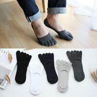 5 Pair Mens Cotton Antibacterial Five Finger Toe Care Low Cut Boat Healthy Socks