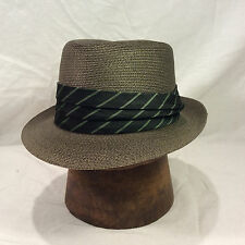 Charcoal Grey Resistol Florentine Fedora with Black and Green Stripped Band