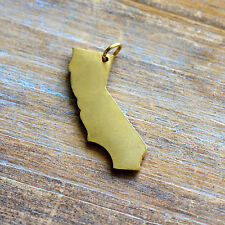 Californa State Charm - Brushed 24k Gold Plated Stainless Steel Pendant Minimal