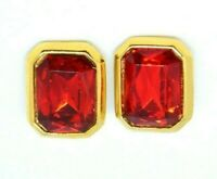 Red Glass Rhinestone Large Gold Tone Vintage Clip Earrings