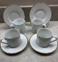 Set Of 4 Tiffany & Co White Bone China W/ Gold Rim Demitasse Tea Cups + Saucers