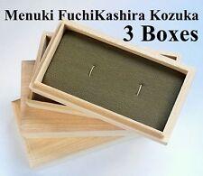 Japanese Wooden Menuki Fuchi/Kashira Kozuka Box 3 Pieces for Antique Collector