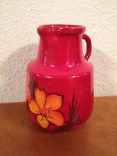 Vintage Signed Studio Art Pottery Pitcher / Vase Red Glaze w/ Floral Decoration
