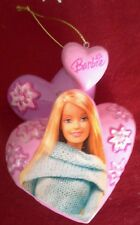 2005 Barbie Christmas Tree Ornament Holiday Pink Hearts Sparkles Bling Gift Deco