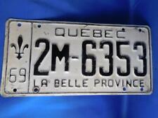 QUEBEC LICENSE PLATE 19769 2M 6353 VINTAGE CANADA MUSCLE CAR GARAGE SHOP SIGN
