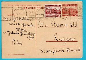 POLAND postal card 1937 Wilno machine cancel to Switzerland -Lithuania used in P