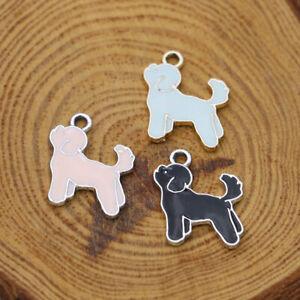 10Ps Enamel Dog Charm Pendant Jewelry Making Necklace Bracelet DIY Accessories