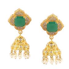 "Sakota Mine Emerald & River Pearl Gold Filled Handmade Earring 2"" KE-8483"