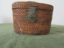 Antique teapot basket with brass accents