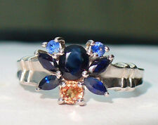 NEW Silver Butterfly RING 1.75cts in 8 Cornflower & Rich Blue & Orange SAPPHIRES