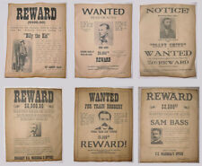 6 Old West Wanted Posters Outlaw Billy the Kid Jesse James Soapy Smith, more