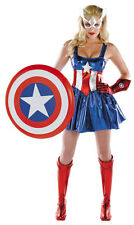 Captain America Deluxe Female Adult Costume Marvel Comics Size 12-14 Disguise