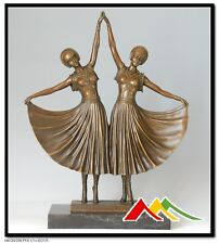 "Signed D.H.Chiparus bronze statue art deco girl bronze Sculpture ""The sisters"""