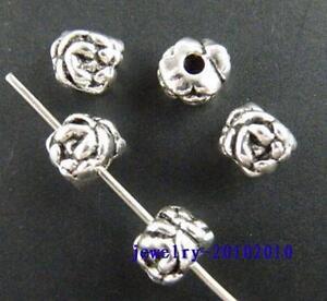 90pcs Tibetan Silver Rose Flower Design Spacers 5.5x6mm 5067