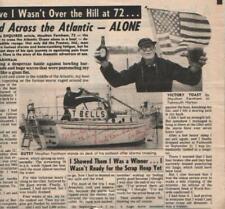 Moulton Farnham Autographed Newspaper Article 1982 Sailed Across Atlantic at 72