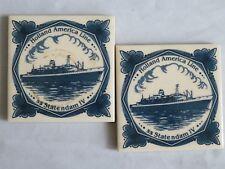 2 Holland America Line SS Statendam IV Blue Delft Ceramic Tile  Coaster (D7)