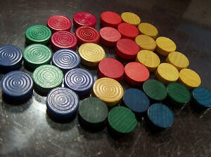 Parcheesi Board Game Replacement Wooden  Pieces -  round small flat Dime Size