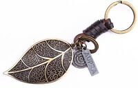 AuPra Women Leaf Keyring  | Leather Vintage Keychain | Key Ring Pendant Gifts