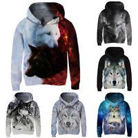 Wolf 3D Print Hoodie Kids Boys Girls Hooded Sweatshirt Pullover Jumper Coat Tops