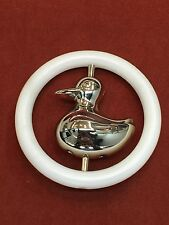 Vintage Silver Baby Duck Rattle and Teething Ring. Excellent Condition
