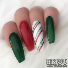 Set of 20 Press On Nails Red Green White Candy Cane Stripe Fake False Christmas