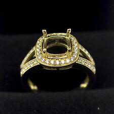 8x8mm Cushion Cut Solid 14K 585 Yellow Gold Semi Mount Natural Diamond Ring