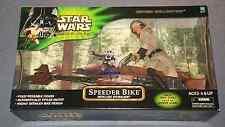 "STAR WARS POWER OF THE JEDI 12"" INCH SPEEDER BIKE w/ LUKE SKYWALKER SEALED 2001"