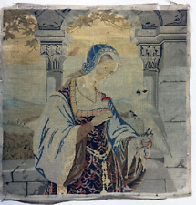 Antique Early Victorian Needlepoint Embroidery Sampler, Figure & Parrot Tapestry