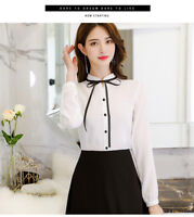 Fashion OL Women Long Sleeve Bow Tie Blouse solid Color Loose Tops Shirts White