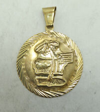 Very Nice 10K Yellow Gold Detailed Cuban 1.5 Inch Round Charm Pendant D540