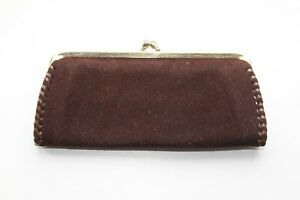 Lovely Vintage 1950/60's BROWN SUEDE CLUTCH PURSE with KISS CLASP.